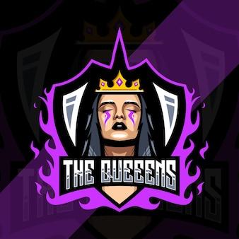 Design do modelo do logotipo do mascote do queens