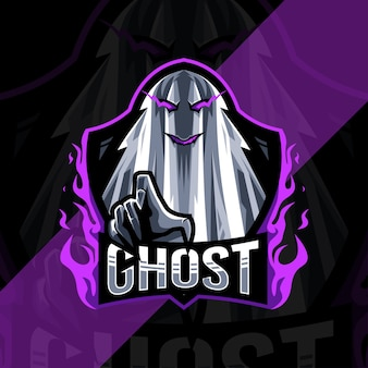 Design do modelo do logotipo do mascote fantasma