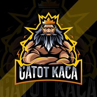 Design do modelo do logotipo do mascote gatot kaca