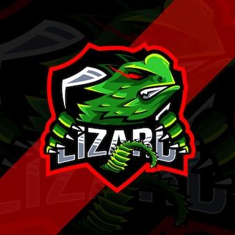 Design do modelo do logotipo do mascote lagarto