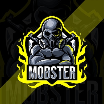 Design do modelo do logotipo do mascote mobster