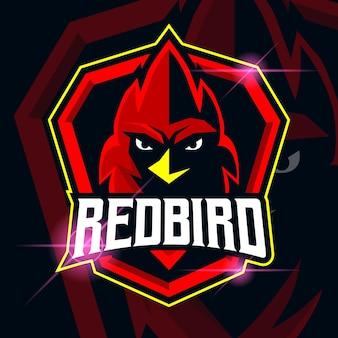 Design do modelo do logotipo do pássaro vermelho esport