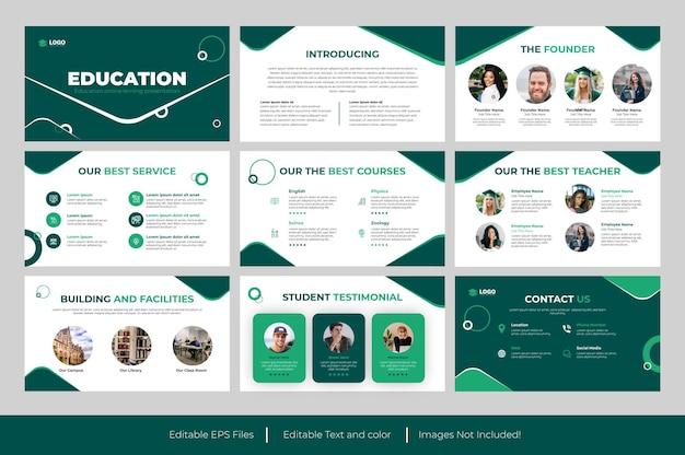 Design do modelo do powerpoint para apresentação educacional