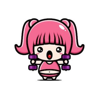 Design do personagem de ginásio garota gorda