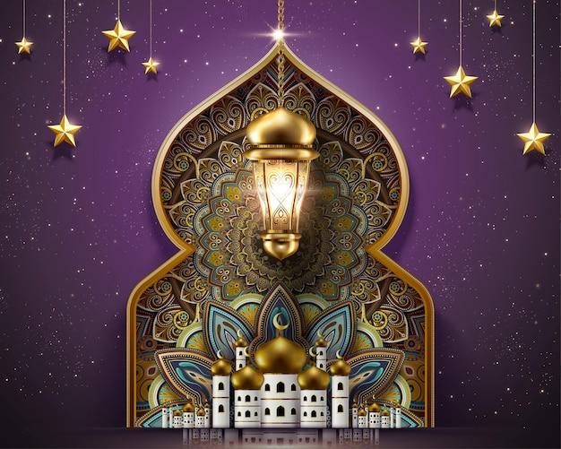 Design do ramadã com lindos padrões de mesquita e arabescos