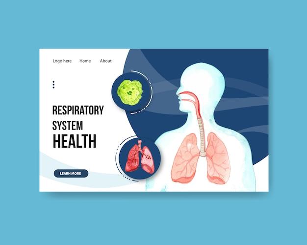 Design do sistema respiratório para modelo de site com anatomia humana do pulmão