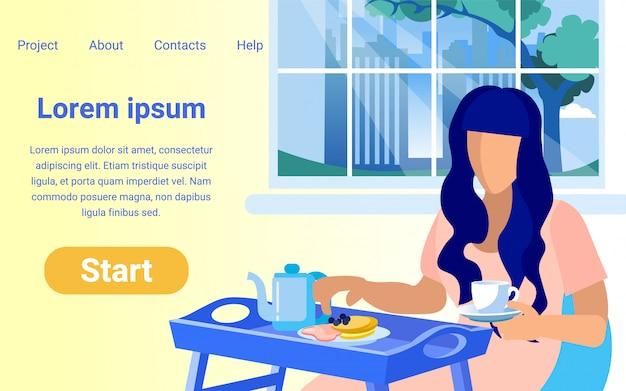Design do site com ilustração de mulher na hora do jantar