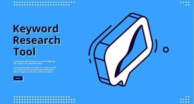 Design do site. conceito de ferramenta de pesquisa de palavras-chave