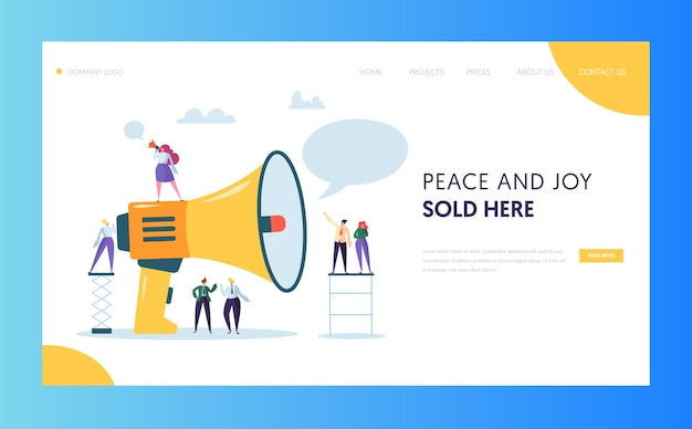 Design do site da página de destino da publicidade em massa