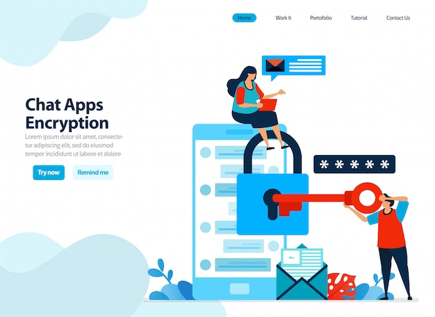 Design do site de criptografia de aplicativos de bate-papo e segurança móvel.