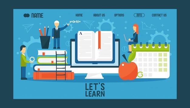 Design do site de educação on-line, ilustração. página inicial da faculdade ou universidade, caracteres de estilo simples com livros em grande escala