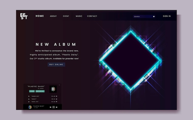 Design do site de lançamento do álbum