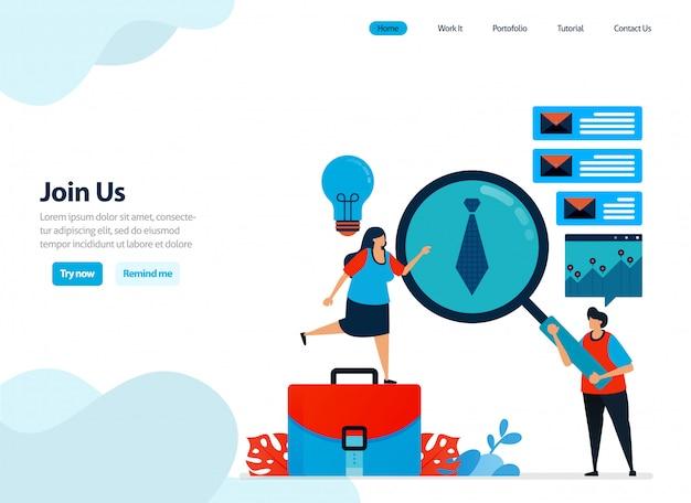 Design do site de se juntar a nós, contratar e indicar um programa de amizade.