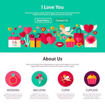 Design do site eu te amo. ilustração em vetor estilo simples para web banner e página inicial. feriado do dia dos namorados.