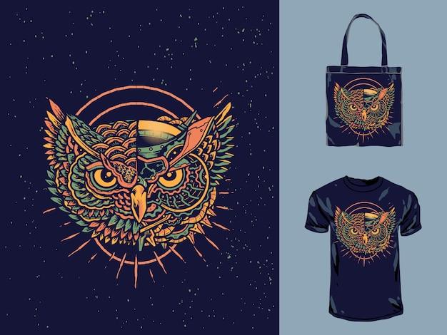 Design do t-shirt da coruja do robô do mecânico do vintage