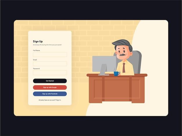 Design do template da página de inscrição