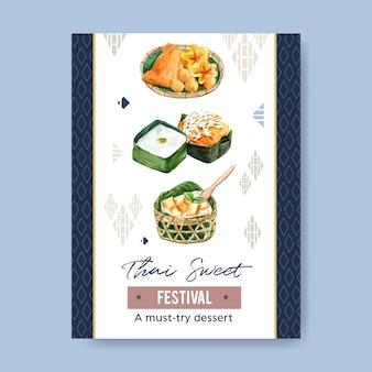 Design doce tailandês com linhas douradas, aquarela do cartaz do pudim da ilustração.