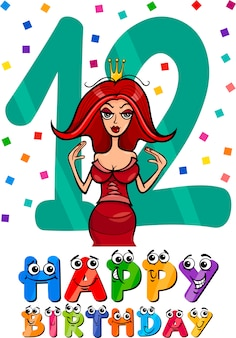 Design dos desenhos animados do décimo segundo aniversário