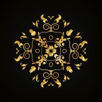 Design dourado de elementos decorativos de luxo