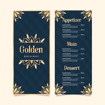 Design dourado do modelo do menu do restaurante