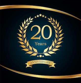 Design dourado luxuoso do aniversário da coroa de louros
