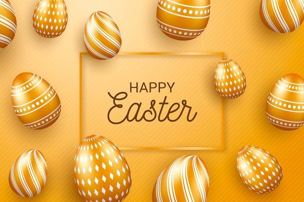 Design dourado para feliz dia de páscoa