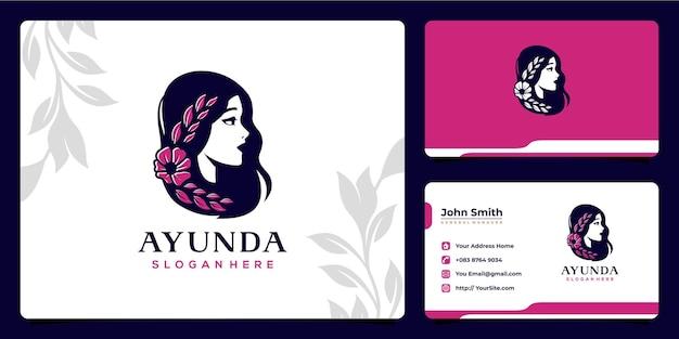 Design e cartão de visita do logotipo da folha da flor da mulher da beleza