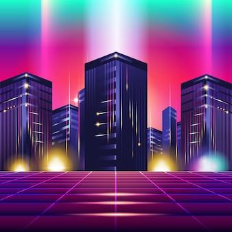 Design e elementos retros de synthwave