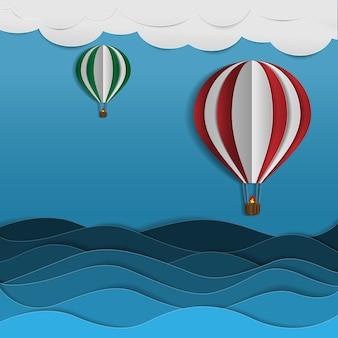 Design é papel cortado, balão no céu com fundo azul