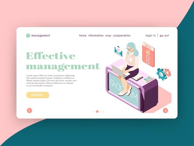 Design eficaz do site de landing page isométrica de gerenciamento com personagem feminina nos ícones de trabalho e links clicáveis