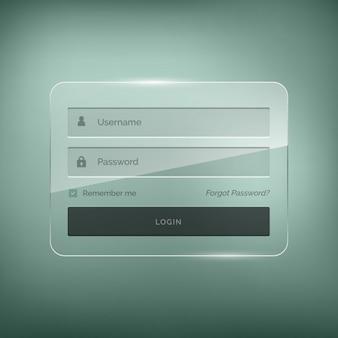 Design elegante brilhante formulário de login com nome de utilizador e palavra-passe