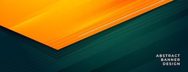 Design elegante de banner abstrato verde e laranja