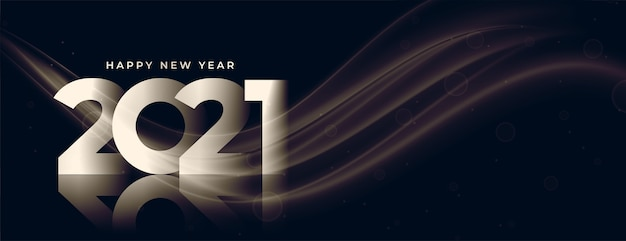 Design elegante de banner brilhante de feliz ano novo 2021