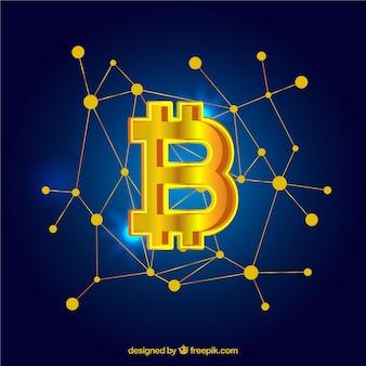 Design elegante de bitcoin dourado