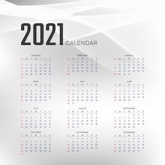 Design elegante de calendário cinza ondulado de ano novo 2021
