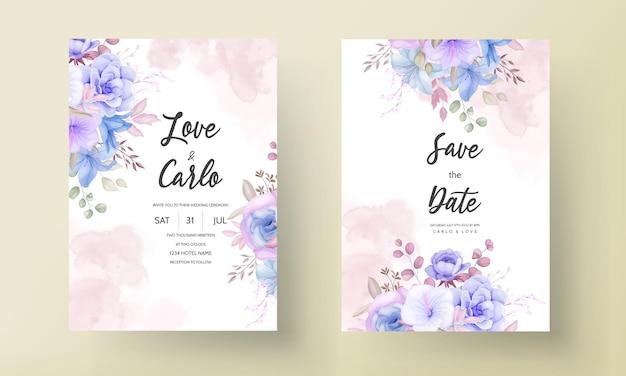 Design elegante de cartão de convite de casamento com flores e folhas