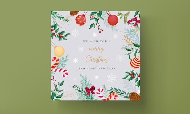 Design elegante de cartão de natal com enfeites de natal e lindas folhas
