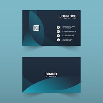 Design elegante de cartão de visita com formas de ondas azuis