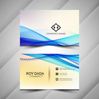 Design elegante de cartão de visita com ondas azuis