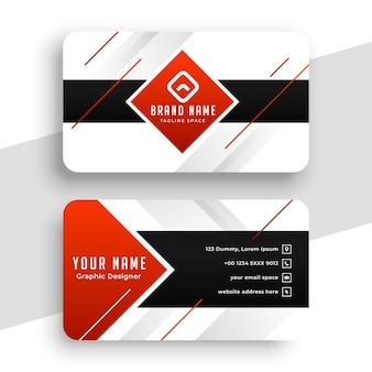 Design elegante de cartão de visita geométrico vermelho