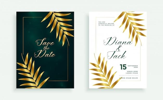 Design elegante de convite de cartão de casamento premium de folhas douradas