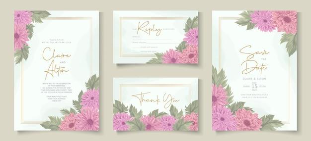 Design elegante de convite de casamento com enfeite de flor de crisântemo rosa
