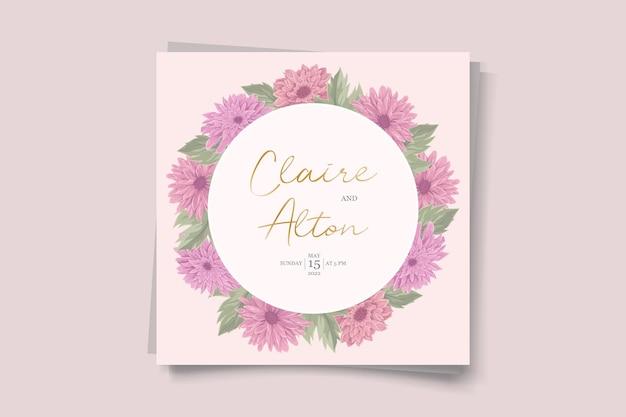 Design elegante de convite de casamento com linda flor de crisântemo