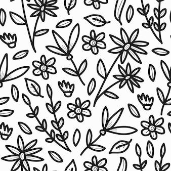 Design elegante de desenho de doodle padrão de flores
