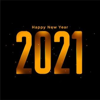 Design elegante de feliz ano novo com fundo dourado de 2021