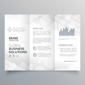 Design elegante de folheto triplo branco para o seu negócio