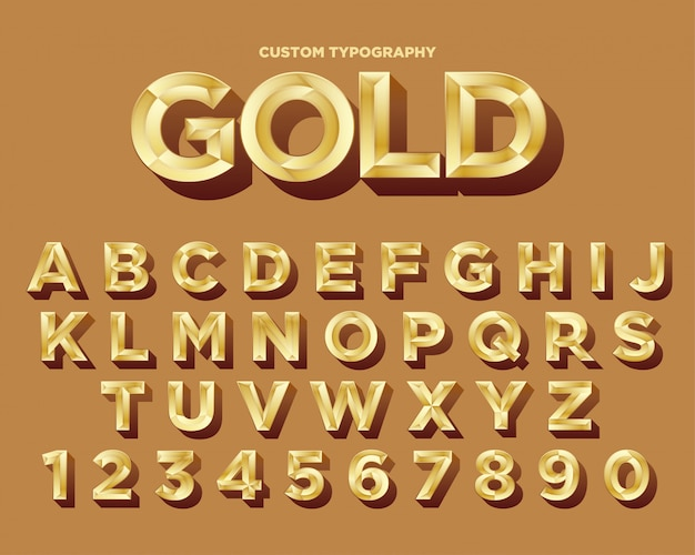 Design elegante de fonte de tipografia de ouro