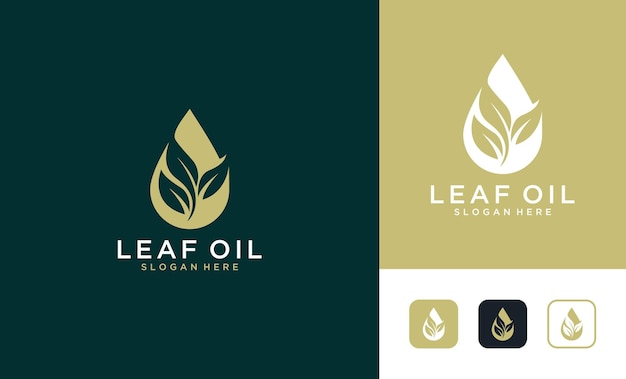 Design elegante de logotipo de folha de óleo