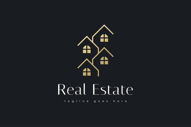 Design elegante de logotipo dourado de imóveis