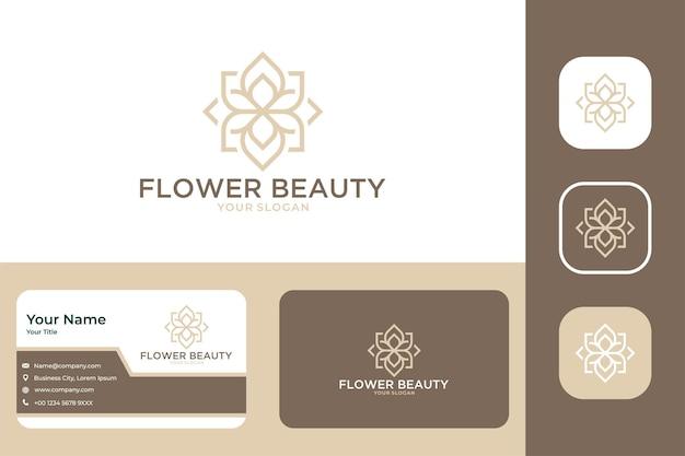 Design elegante de logotipo e cartão de visita da beleza da flor